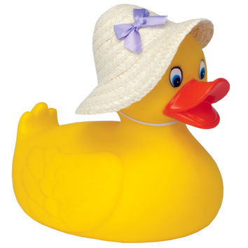 Large Rubber Duck With Straw Hat