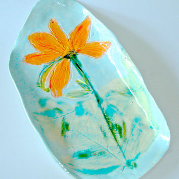 Ceramic Platter with Day Lily