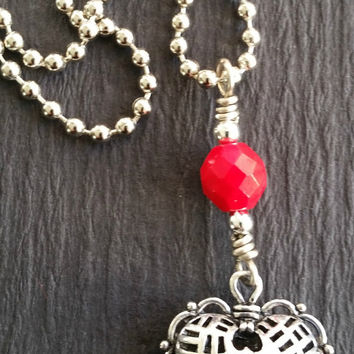 Puffed Heart  Necklace with Red Bead