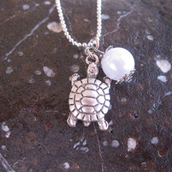 Tiny Turtle And Pearl Bead Silver Necklace