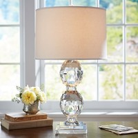 CARLOTTA STACKED FACETED CRYSTAL BEDSIDE LAMP BASE