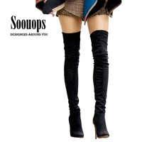 Plus size 34-45 Botines Female winter boots for women over the knee high thigh boots high heel suede boots botas mujer femininas