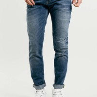 DARK WASH VINTAGE LOOK STRETCH SLIM JEANS - TOPMAN