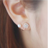 LZ New Fashion Simulated Pearl Jewelry CZ Diamond Snowflake Sweet Gold/Silver Plated Stud Earrings For Women E404 E405