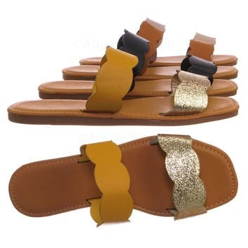 Upbeat29 Wave .Scallop Twin Strap Slides - Women Flat Slide In Slipper Sandals