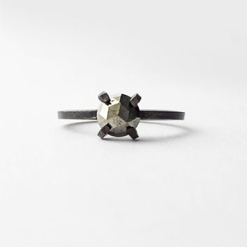 Faceted Rose Cut Pyrite Ring