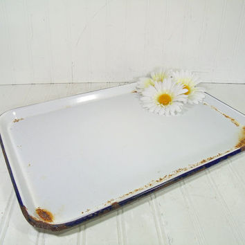 Primitive Blue on White EnamelWare Rectangular Tray - Vintage Rustic Porcelain on Metal Serving Board - Cottage Shabby FarmHouse Cookie Tray