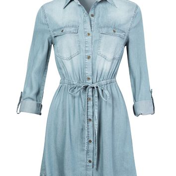 Long Sleeve Button Up Tencel Denim Shirt Dress with Adjustable Drawstring