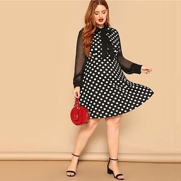 Bow Tie Neck Sheer Sleeve Polka Dot Dress