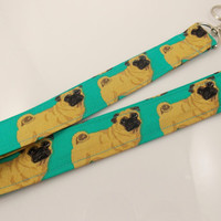 Pugs Pug Lanyard Teacher Lanyard Dog Lanyard Pug Keychain Pug Key Holder Lanyard Pug Necklace ID Badge Holder Dog Lover Lanyard