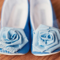 Cinderella Inspired Handmade Baby Toddler Girls Soft Soled Shoes Booties & Ballet Flats...Blue Gown Style, Made to Order