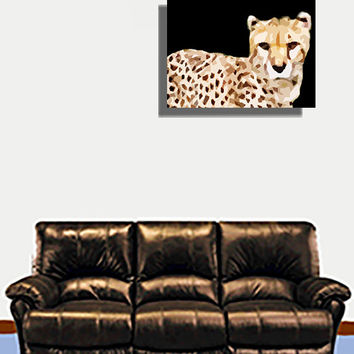 Cheetah Acrylic Popart Painting (Preview Me On Wall) Free Shipping in the US