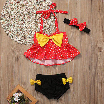 Cute Baby Girls Micky Minnie Bikini Set Dots Bow Swimsuit Swimwear Tankini bathing suit Bikini 2017 Girls Monokini