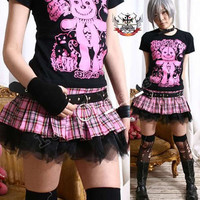 AVRIL Punk Puffy Pleated Mini Skirt / bloomer Pink Tartan
