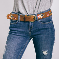 Faux Suede Embroidered Belt