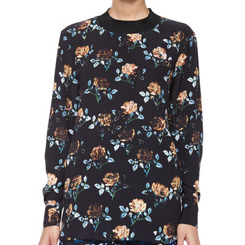Rose-Print Long-Sleeve Top, Size:
