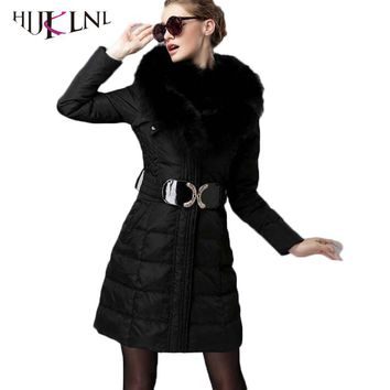 HIJKLNL 2017 New Women Down Jackets Long Winter Overcoats With Real Fox Fur Down Parkas Female Hooded Down Coats Thick PL180