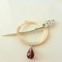 Shawl Stick Hair Stick Abalone Shell Hoop Crystal Teardrop Bead Antique Silver Mythical Dragon Stick