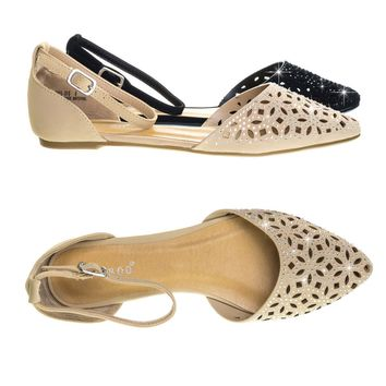 Series31 Open Shank D'Orsay, Perforated Cutout, Rhinestone Embellished Pump Flat