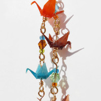Origami Crane Earrings Elegant Orange Blue by PinkDragonflyCrafts
