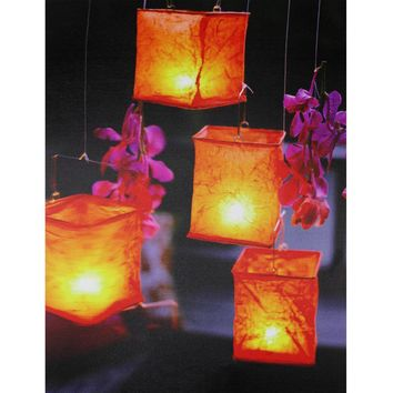 "LED Lighted Flickering Garden Lantern Candles with Pink Orchids Canvas Wall Art 15.75"" x 11.75"""