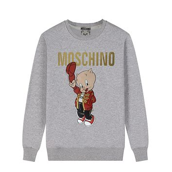 Moschino Autumn And Winter New Fashion Letter Pig Print Women Men Leisure Long Sleeve Top Sweater Gray