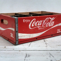 100 % Vintage Coca Cola Crate with Handles Red Vintage Soda Coke