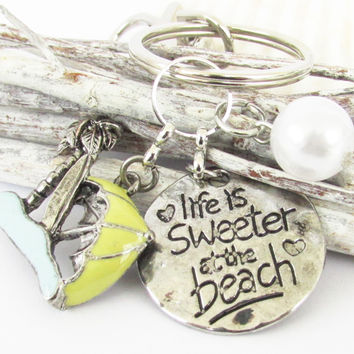 Fun Beach Quote Keychain