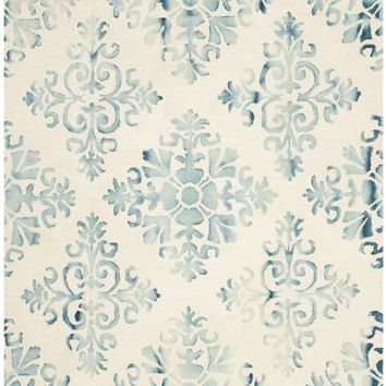 Dip Dye Contemporary Indoor Area Rug Ivory / Light Blue