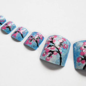 Cherry Blossom Nails for Toes Fake Toenails Hand Done by niceclaws