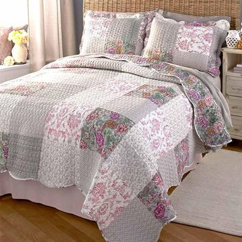 Quilt & Sham Set Floral Cottage French Country Shabby Chic Reversible