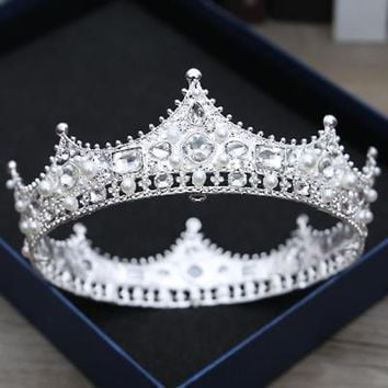 Cool Snuoy Vintage Baroque Queen For Women Crown King Tiara Medieval Retro Copper Silver Man Crowns Pageant Wedding Hair AccessoriesAT_93_12