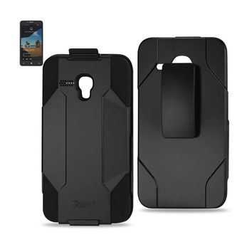 New Hybrid Holster Combo Case In Black For Alcatel One Touch Fierce XL By Reiko