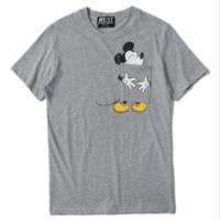 Mickey Mouse New fashion pocket couple short-sleeved T-shirt print loose top Gray