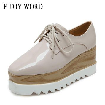 E TOY WORD Luxury Brand Women Platform Oxfords Flats Shoes Patent Leather Lace-Up Square toe Beige Black Creepers Women shoes