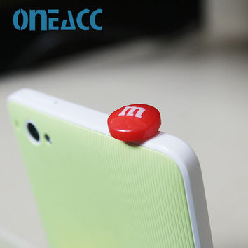 Hot Sell Chocolate Beans M Beans Phone Anti Dust Plug Cell Phone Accessories For Iphone4 5 6 3.5mm Earphone Jack Plug