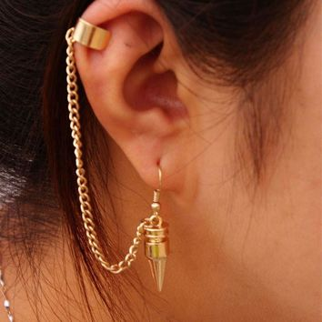 A32 Fashion Punk Style Bullet Pendants Tassel Ear Clip Earrings Jewelry