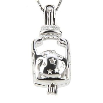 925 Sterling Silver Wishing Bottle Pearl Cage Pendant