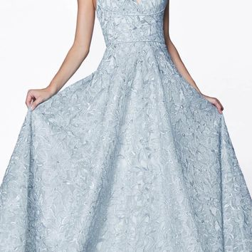 Floor Length Floral Ball Gown Blue V-Neckline And Strappy Back
