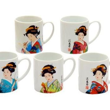 Japanese Geisha Print Tea Mugs - Assorted Styles - On Sale