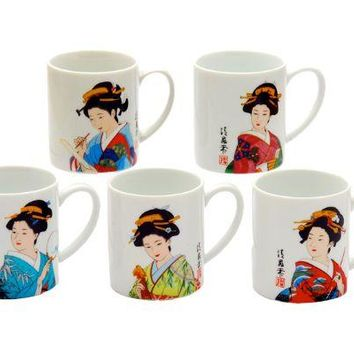 Japanese Geisha Print Tea Mugs - Assorted Styles