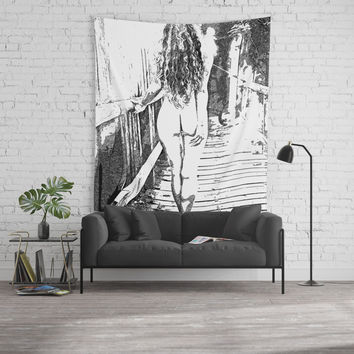 Girl at the bridge, sexy nude woman outdoors, erotic under waterfall, adult black and white artwork Wall Tapestry by Casemiro Arts - Peter Reiss