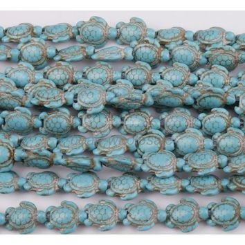 16'' Lots 23Pcs Turquoise Howlite Carved Turtle Spacer Beads Findings 17x14mm