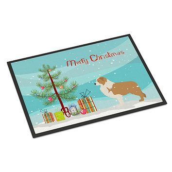 Red Border Collie Merry Christmas Tree Indoor or Outdoor Mat 24x36 BB2940JMAT