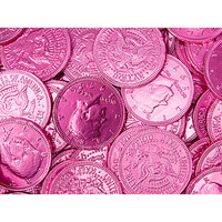 Pink Foiled Milk Chocolate Coins: 1LB Bag