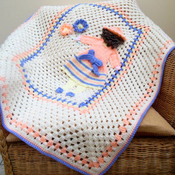 Crochet Baby Blanket with Picture of a Little Flower Girl. Baby Shower /  Personalised Gift . Nursery Bedding. Stroller Blanket. Baby Girl.