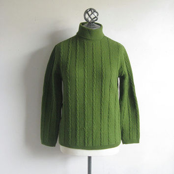 Vintage 1970s Cable Knit Sweater Green Turtle Neck Crop Jumper Small