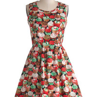 Vintage Style Retro Christmas Cupcake Dress, 50s style, Medium Large