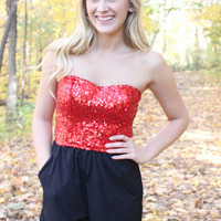 Sequined Romper - Black and Red