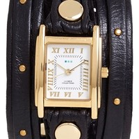 Women's La Mer Collections Studded Leather Wrap Watch, 19mm